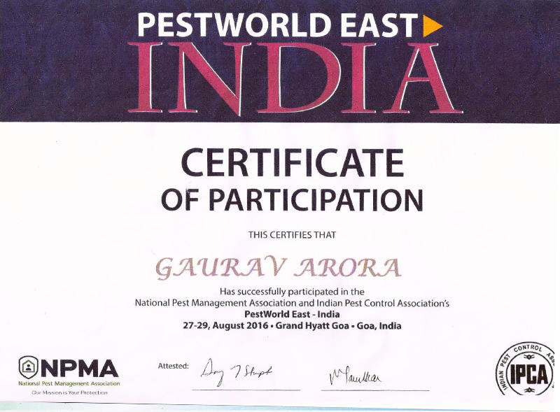 pest world east india certification, appreciation to gaurav arora